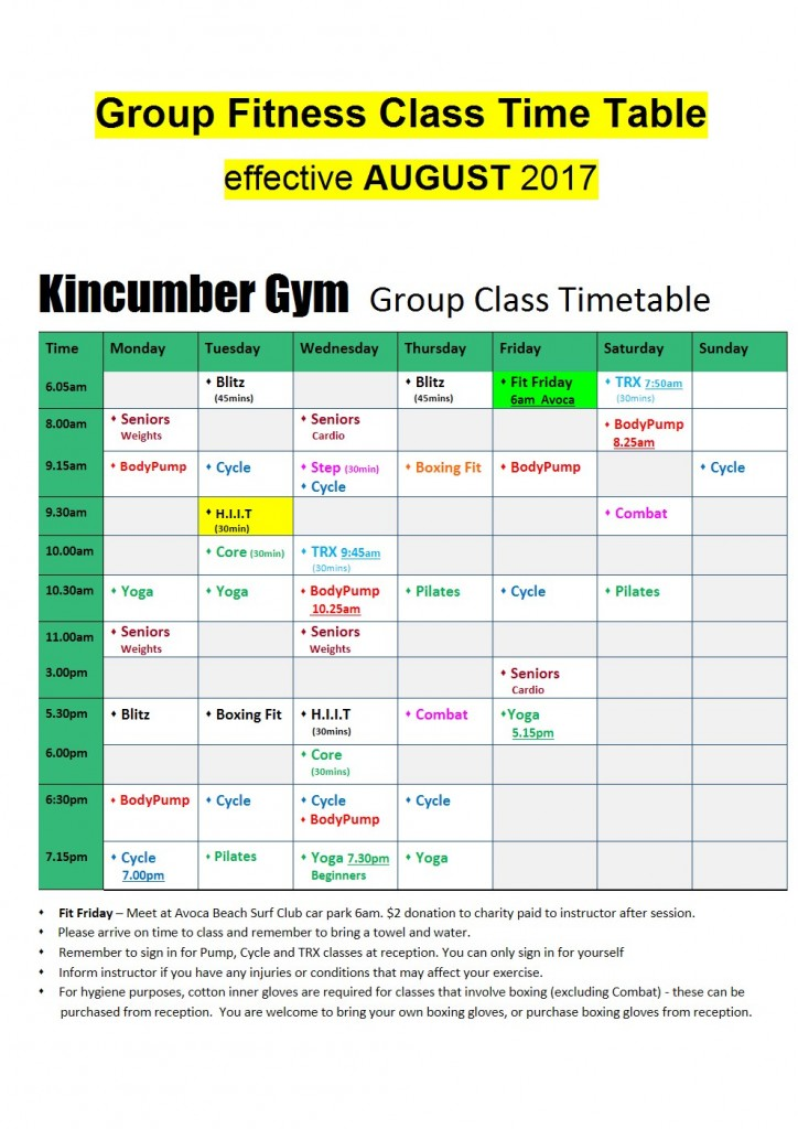 August 2017 A4 Landscape Website new colour class time table A4 website
